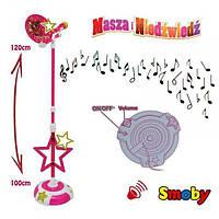 Детский Игровой Развивающий Музыкальный Микрофон Маша и Медведь со стойкой 100-120 см, розовый, Smoby Смоби