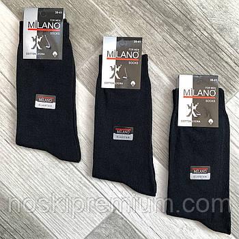 Носки мужские демисезонные х/б Milano LYCRA, Турция, 39-41 размер, чёрные, 1921