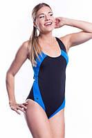 Купальник сдельный для бассейна SHEPA 009, черный с синими вставками S