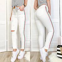 0433 Periscope джинсы женские белые с декоративной отделкой летние стрейчевые (36-42, евро, 8 ед.), фото 1