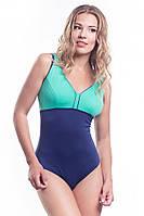 Купальник спортивный цельный для бассейна Shepa 036 с чашками, синий с зеленым