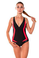 Сдельный спортивный купальник Aqua Speed Greta, черный с красными вставками 38