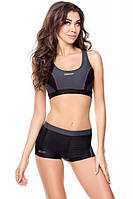 Раздельный спортивный женский купальник Aqua Speed Fiona с шортиками, черный с серым, фото 1