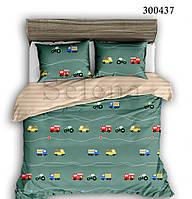 Комплект постельного белья Машинки цветные сатин (Двуспальный)