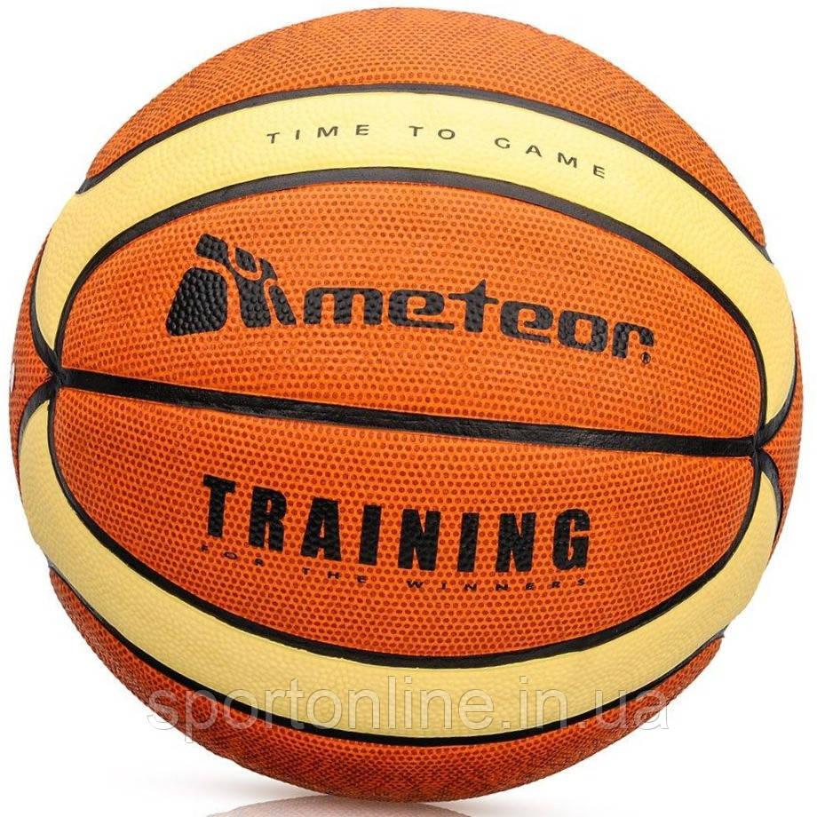 Мяч Баскетбольный Meteor Cellular, размер №7, оранжевый с желтыми полосками