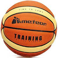 Мяч Баскетбольный Meteor Cellular, размер №7, оранжевый с желтыми полосками, фото 1