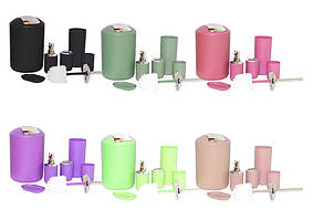 Набір для ванної кімнати пластиковий, 6 предметів, 6 кольорів мікс ООПТ