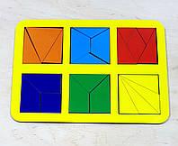 Сложи квадрат, методика Никитиных, 6 квадратов, ур.2, развивающие игры Никитина, 240*170 мм, 064302