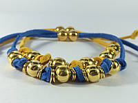 Браслет желто-голубой двойной на замшевом шнуре