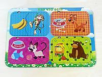 Пазл парный «Кто что ест?», мартышка-собака-кошка-медведь, 012405