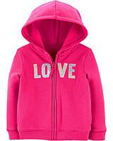 Детская яркая толстовка на флисовом начесе LOVE Картерс для девочки