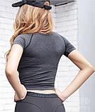 Футболка женская для занятий спортом и фитнесом серая  М4323, фото 3
