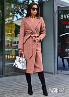 Пальто средней длины на запах кашемир VS169