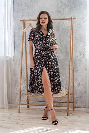 Платье женское 48-50 цветочное летнее на запах миди с коротким рукавом, фото 2
