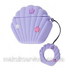 Чехол Sea Shell Case for Airpods purple