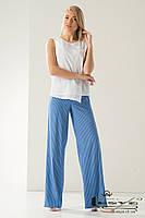 Брюки-клеш  в полоску из летнего джинса голубые  Lesya ГРИДЖИ