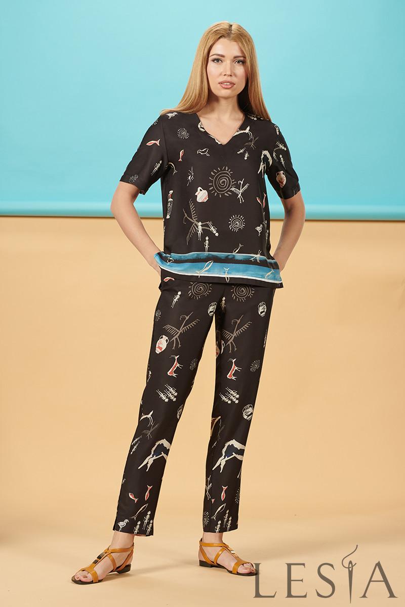 Легкі жіночі шовкові штани в етнічний принт Lesya СЕБЕК 46