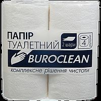 """Бумага туалетная целюлозная """"Buroclean"""", 4 рулона, белая"""