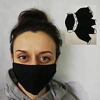5 Масок на лицо многоразовые тканевые трикотажные НЕМЕДИЦИНСКИЕ ТОЛЬКО ЧЕРНЫЙ ЦВЕТ отправка сегодня