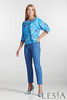 Стильные женские  голубые  брюки с тонкими лампасами Lesya Кейт 2.