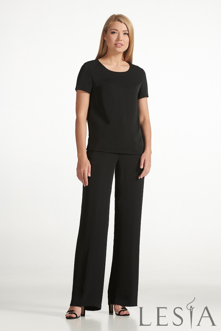 Стильні чорні штани прямого силуету з струмує тканини Lesya Неві 5.