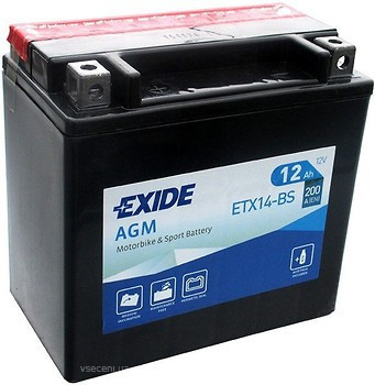 EXIDE 6СТ-12Аз (ETX14-BS) Мото аккумулятор