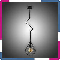 Светильник подвесной в стиле лофт Зигзаг капля на 1 лампу черный