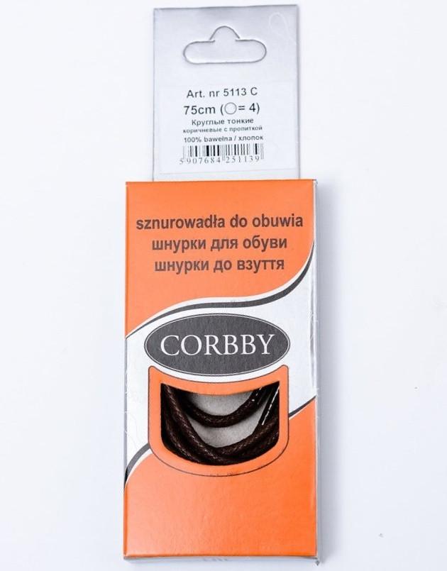 Corbby шнурки тонкие / вощенные / темно-коричневые 75 см