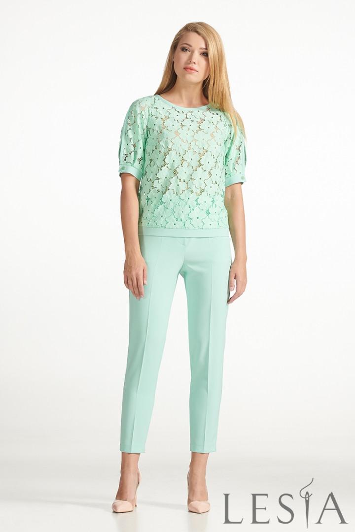 Костюм з мереживною блузи і штанів м'ятного кольору Lesya Неві 4