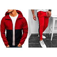 Ветровка + Штаны Casual CL x black-red / Комплект мужской весенний