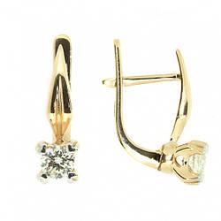 Серьги (золото 585 красное, бриллианты)