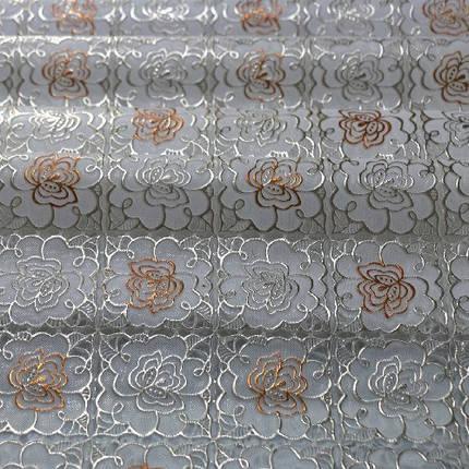 Клеенка виниловая, ажурная, золото с печатью, МА-2140, фото 2