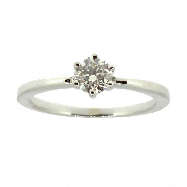 Кольцо (золото 585 белое, бриллиант р.17.5)