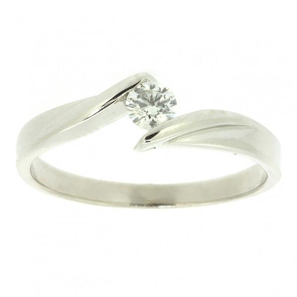 Кольцо (золото 585 белое, бриллиант р.17)