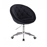 Парикмахерское кресло HR8516 черное велюровое пуговицы.