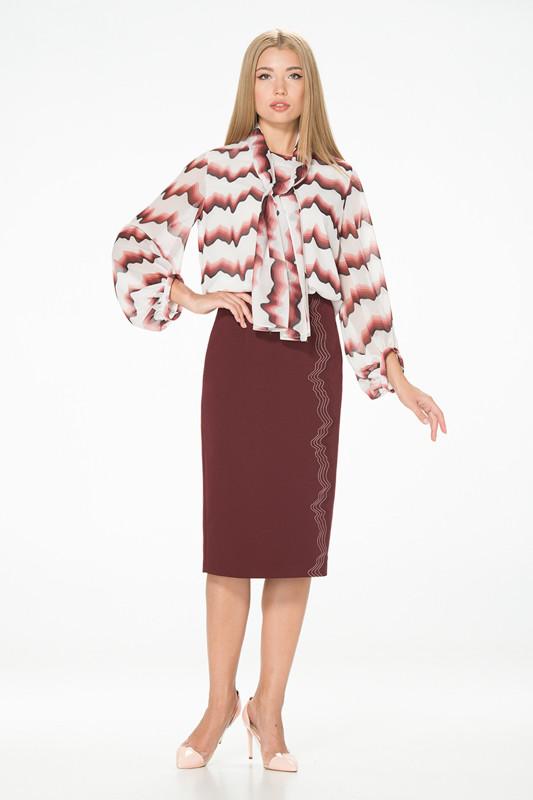 Юбка-карандаш бордового цвета с вертикальной вышивкой Lesya Морана