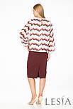 Юбка-карандаш бордового цвета с вертикальной вышивкой Lesya Морана, фото 3