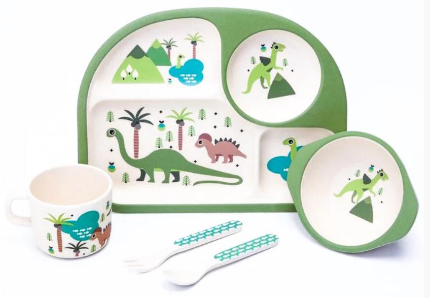 Набор детской бамбуковой посуды Stenson MH27734 динозавры из 5 предметов