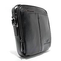 Мужская кожаная сумка Armani 1124-5 черная вертикальная через плечо органайзер из натуральной кожи, фото 1
