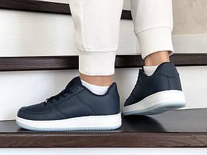 Весенние женские кроссовки Nike Air Force, темно синие, фото 2