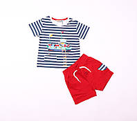 Летний комплект для мальчика, шорты и футболка Mackays, цвет синий\красный, размер 9\12 мес - 3\4 года