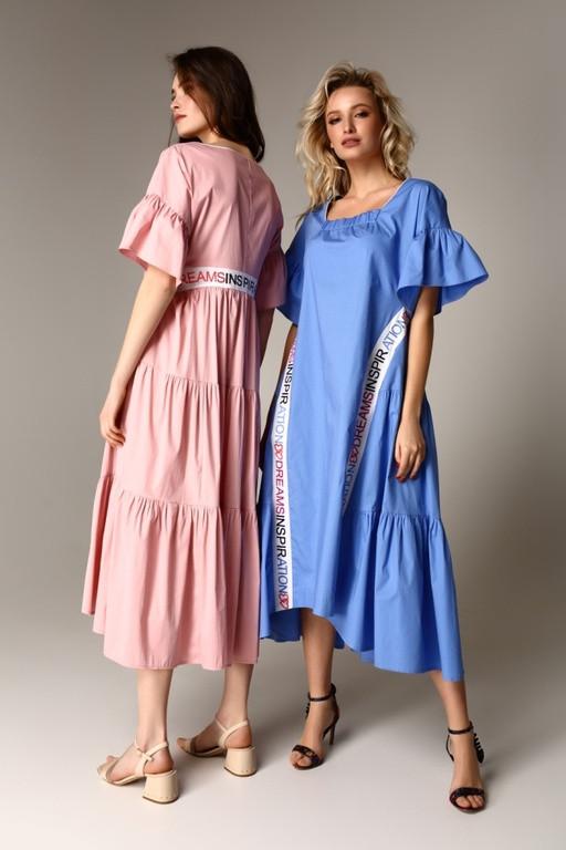 Дизайнерское  летнее платье из хлопка с оборками  и контрастными лентами  Raslov 125