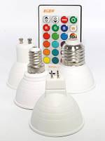 Светодиодная лампа  MR16 GU 5.3 LED 3W RGBW 220V +пульт, фото 5
