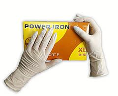 Перчатки одноразовые Power Iron латексные нестерильные опудренные 100 шт размер XL белые