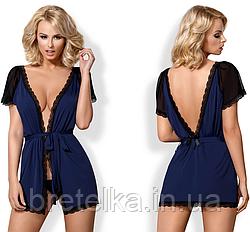 Халат женский короткий с открытой спиной под пояс синий темный Obsessive 825