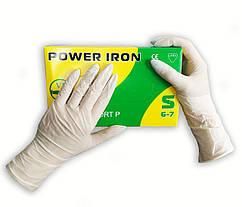 Перчатки одноразовые  Power Iron латексные нестерильные опудренные  100 шт  размер   S белые