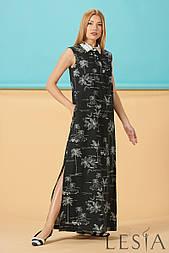 Літній лляне максі плаття в принт пальми Lesya Ронін.