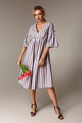 Літнє плаття в смужку з завищеною лінією талії Raslov 120