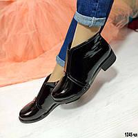 Лаковые женские ботиночки на маленьком каблуке, фото 1