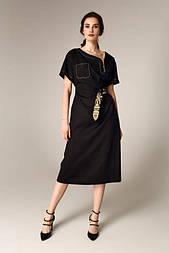 Літній чорне плаття з бавовни з декоративним поясом Raslov 121